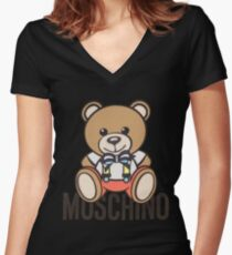 Moschino bear Women's Fitted V-Neck T-Shirt