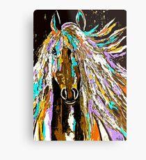 Pferdeabstraktes braunes blaues Gold Metalldruck