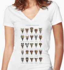 Front view of ceratopsid heads Women's Fitted V-Neck T-Shirt