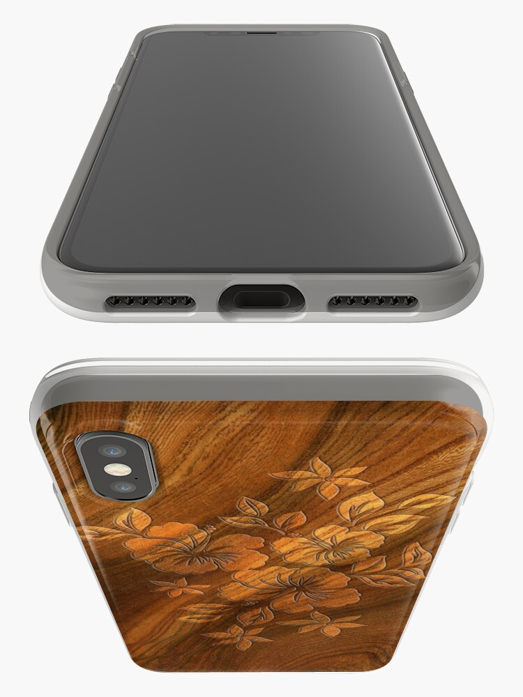 Alternate view of Lilikoi Hibiscus Faux Burl Wood Hawaiian Surfboard iPhone Cases & Covers