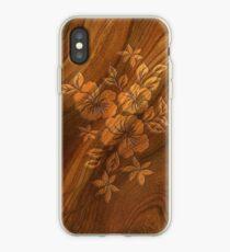 Lilikoi Hibiscus Faux Burl Wood Hawaiian Surfboard iPhone Case