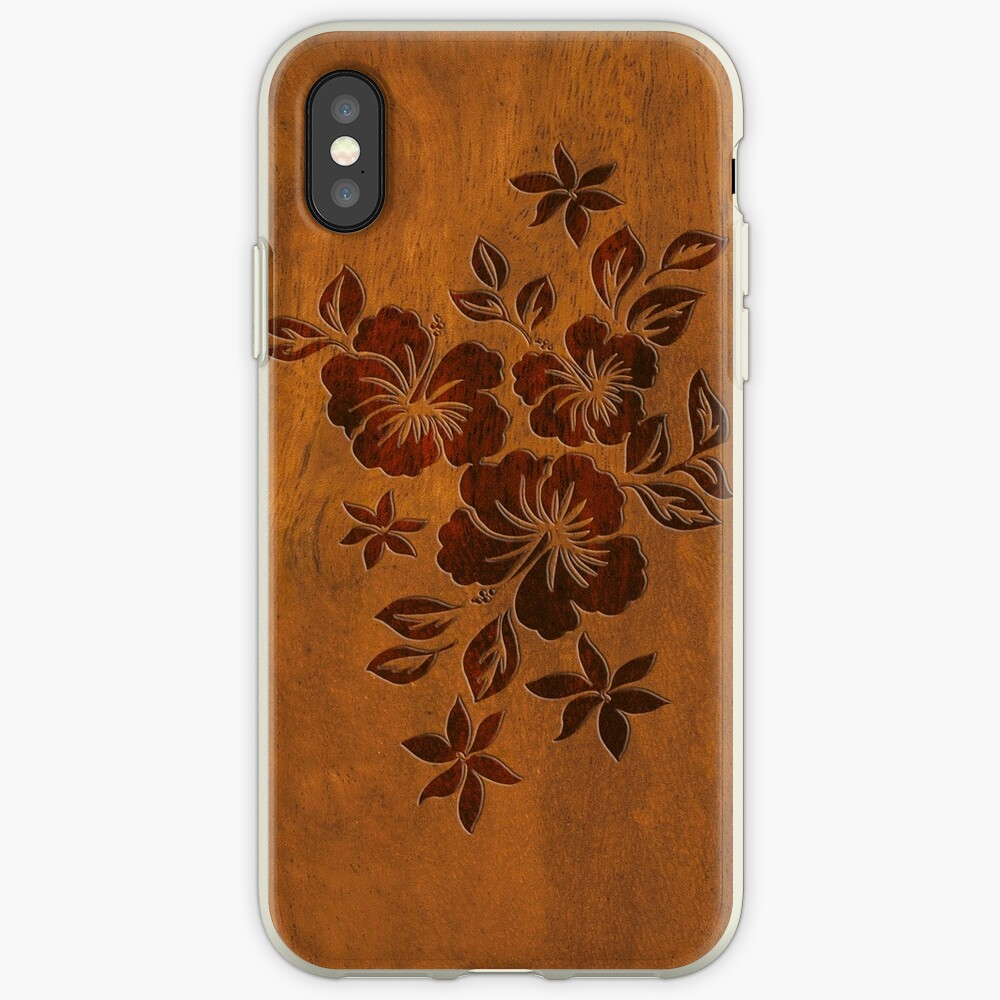 Lilikoi Hibiscus Faux Koa Wood Hawaiian Surfboard iPhone Cases & Covers