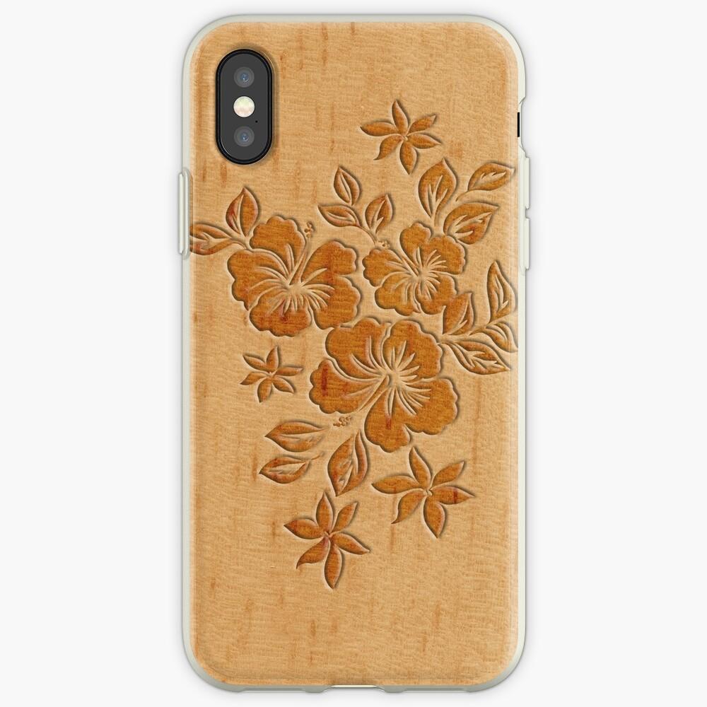 Lilikoi Hibiscus Faux Wood Hawaiian Surfboard iPhone Cases & Covers