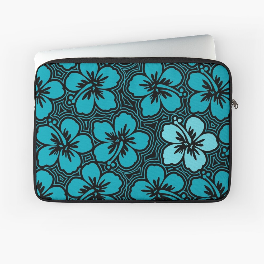 Island Hibiscus Hawaiian Floral - Teal and Black Laptop Sleeve