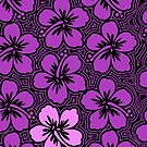 Island Hibiscus Hawaiian Floral - Violet and Black by DriveIndustries