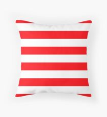 Christmas Red and White Cabana Stripes Floor Pillow