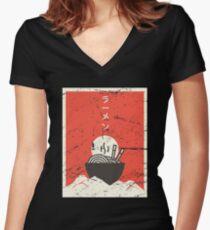 Vintage Japanese Anime Ramen Women's Fitted V-Neck T-Shirt