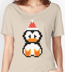 Penguin Bird Baby Xmas Retro 8-Bit Pixel Art Gift Women's Relaxed Fit T-Shirt