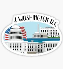 Washington D.C. Skyline Illustration Sticker
