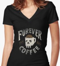 Forever Coffee Women's Fitted V-Neck T-Shirt