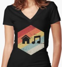House Music - Vintage Retro Hexagon Women's Fitted V-Neck T-Shirt