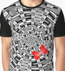 Basket weave red butterfly Graphic T-Shirt