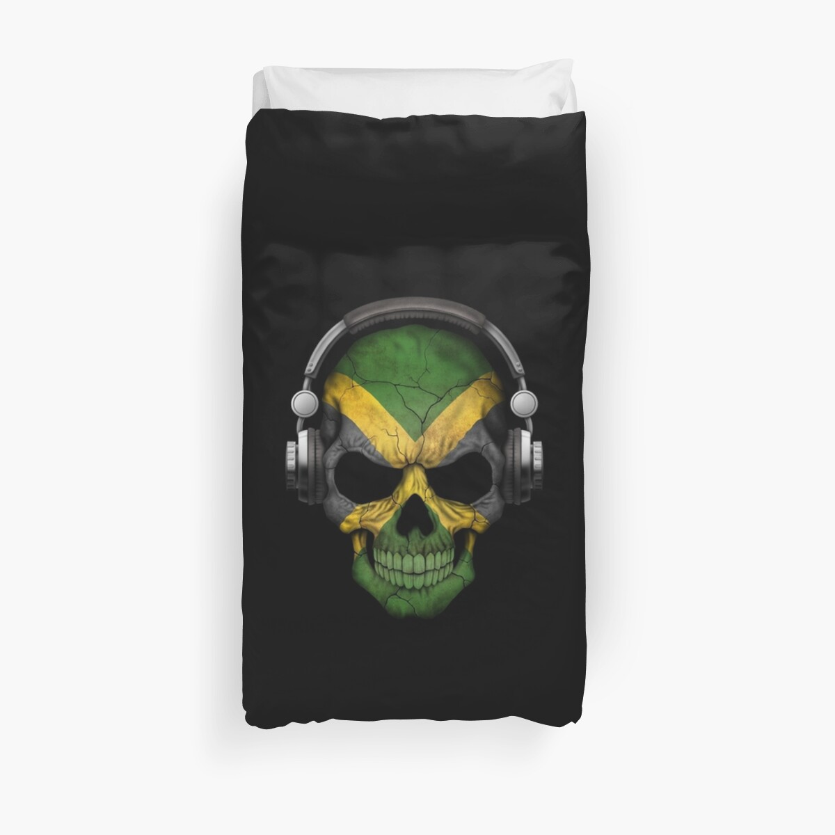 Quot Dj Skull With Jamaican Flag Quot Duvet Covers By Jeff Bartels