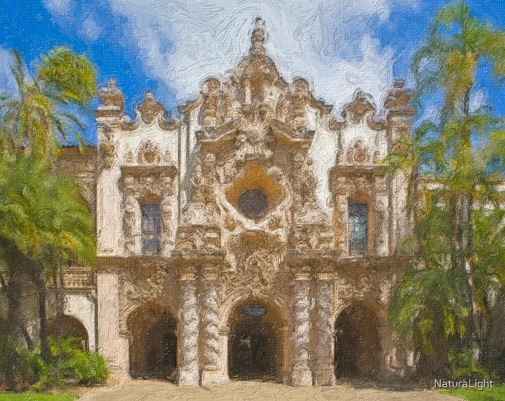 Stylized photo of Spanish architecture Casa del Prado in Balboa