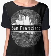 San Francisco city map with GPS coordinates Chiffon Top