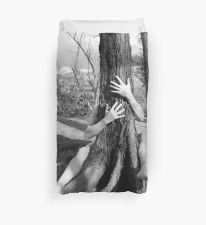 Hands and tree Duvet Cover