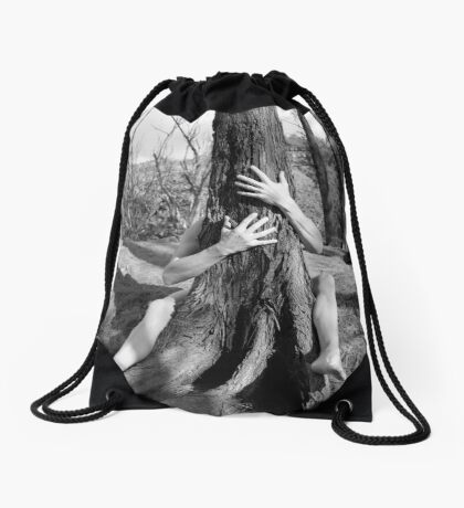 Hands and tree Drawstring Bag