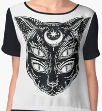 Black cat head portrait with moon and four eyes. Women's Chiffon Top