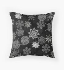 Snowflake Pattern (Black) Throw Pillow