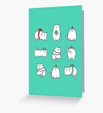 Fat Christmas cats Greeting Card