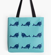 Navy narwhals  Tote Bag