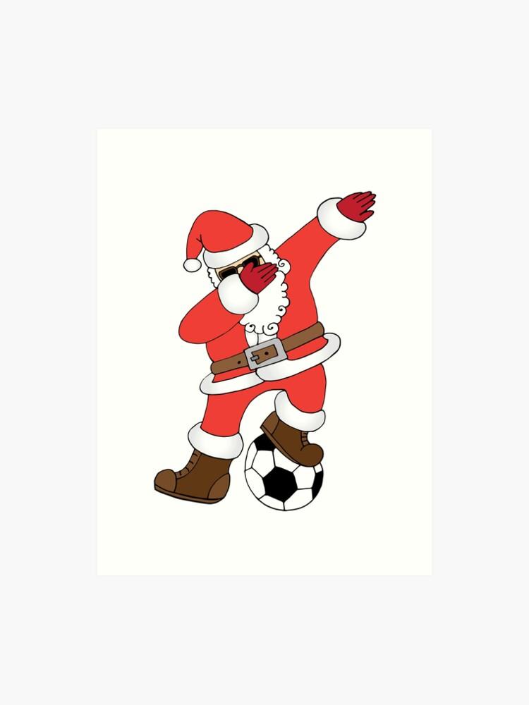 Lustige Santa Dabbing Fussball Weihnachten Fussball Kunstdruck