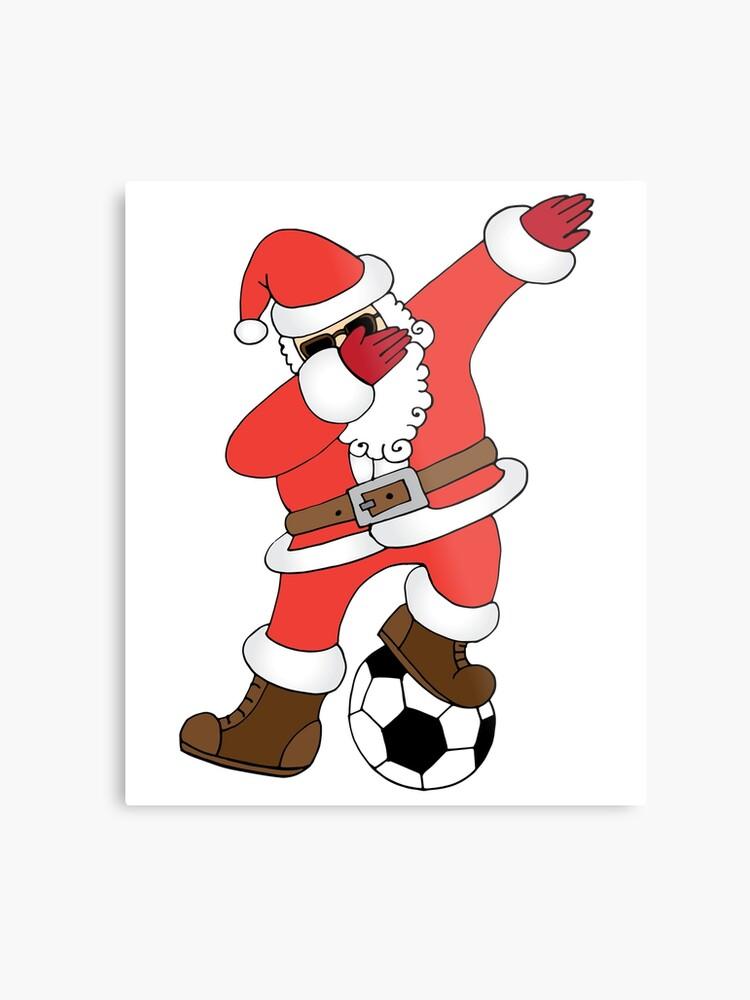 Lustige Santa Dabbing Fussball Weihnachten Fussball Metallbild