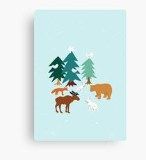 winter forest creatures Canvas Print
