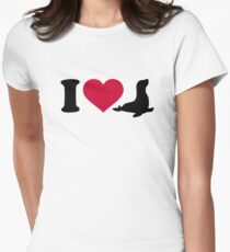 I love Seals Women's Fitted T-Shirt