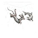 Dachshund underwater. Sausage dog swimming with cat fish, illustration. by CandyMedusa