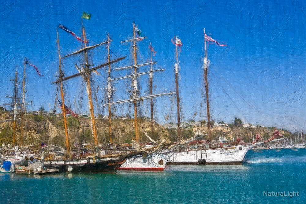 Impasto-stylized photo of the Tall Ship Exy Johnson, Tall Ship Lynx, Tall Ship Irving Johnson, and Tall Ship American Pride in Dana Point Harbor, CA US. by NaturaLight