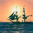 Impasto-stylized photo of the Tall Ship Exy Johnson off Dana Point, CA US. by NaturaLight