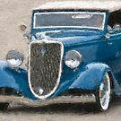 Stylized photo of a vintage Ford V8 hotrod. by NaturaLight