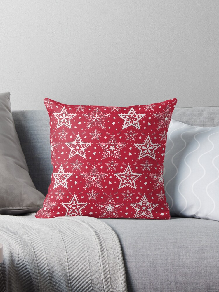 Patterned Christmas Stars in Red and White by Hazel Fisher