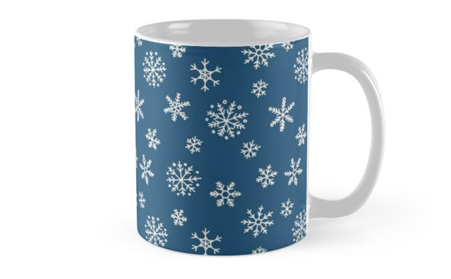 Snowflakes pattern - white on navy blue by Hazel Fisher