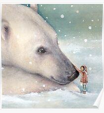 Unexpected Giants - Polar Bear and Snow Girl watercolour Poster