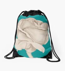 Bud on Dark Teal Drawstring Bag
