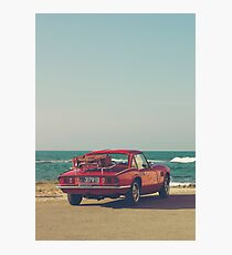 Triumph Spitfire by the sea, with ship, fine art photo, british car, sports car, color, high definition, classic car, supercar, old car print Photographic Print