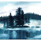 Misty lake | Watercolor hand-painted by DarinaDrawing