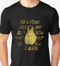 Camiseta unisex Anubis dorado con jeroglíficos en azul