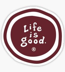 Red Maroon Life Is Good Wiggle Logo Sticker