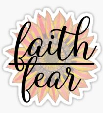 Christian Symbol - Faith Over Fear - Cute Floral Typography Sticker