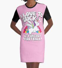 I Suck At Fantasy Football Loser Unicorn Graphic T-Shirt Dress