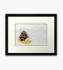 Fir Cones in Snow With Gold Ribbon Framed Print
