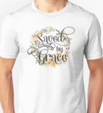 Christian Quote Typography - Saved By Grace T-Shirt