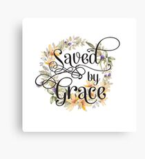 Christian Quote Typography - Saved By Grace Canvas Print