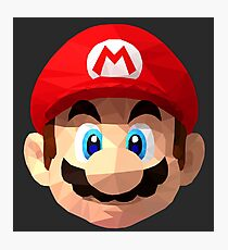 Mario Bros Low Poly (Black Background) Photographic Print