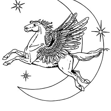 Flying Pegasus and Moon by clarafornia
