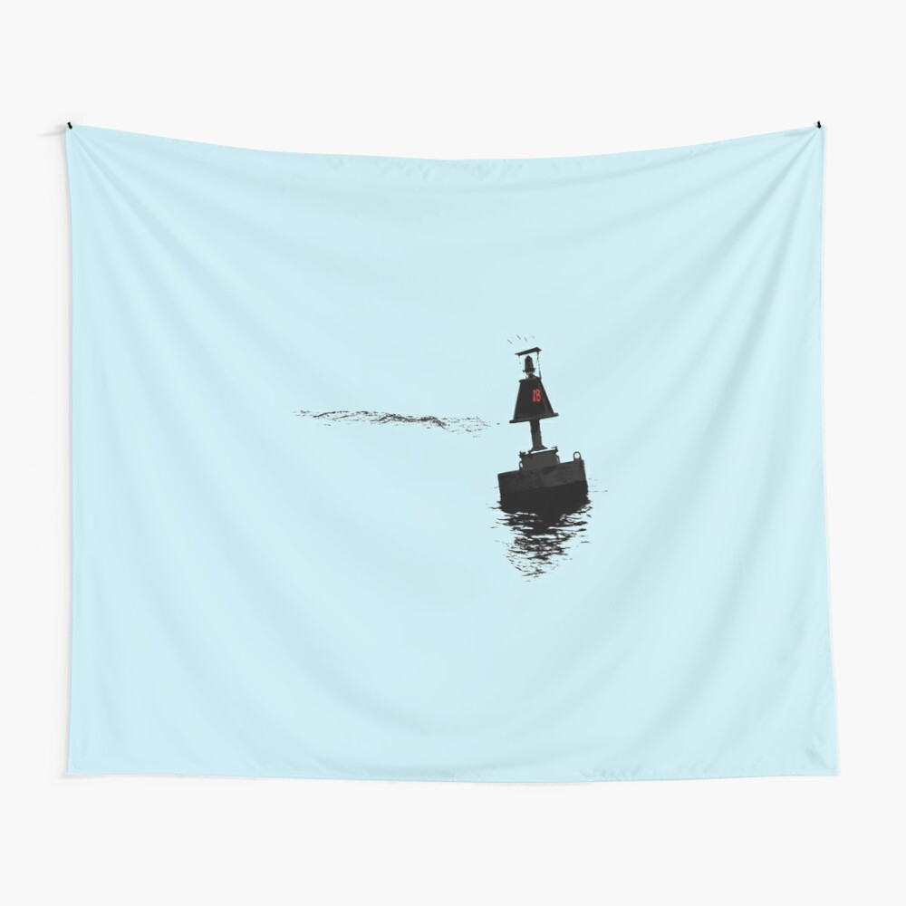 Buoy 18 with blue background Wall Tapestry