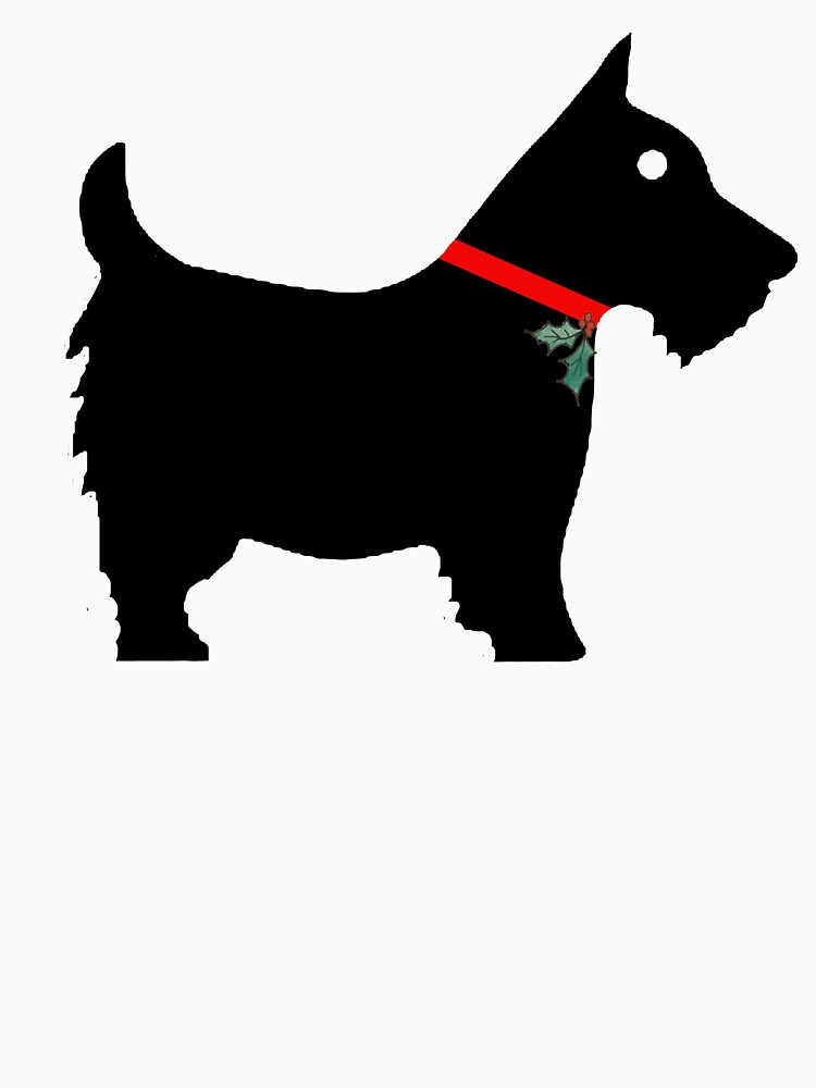 Black Scottiedog Scottish Terrier with Christmas Holly Red Ribbon Collar by podartist